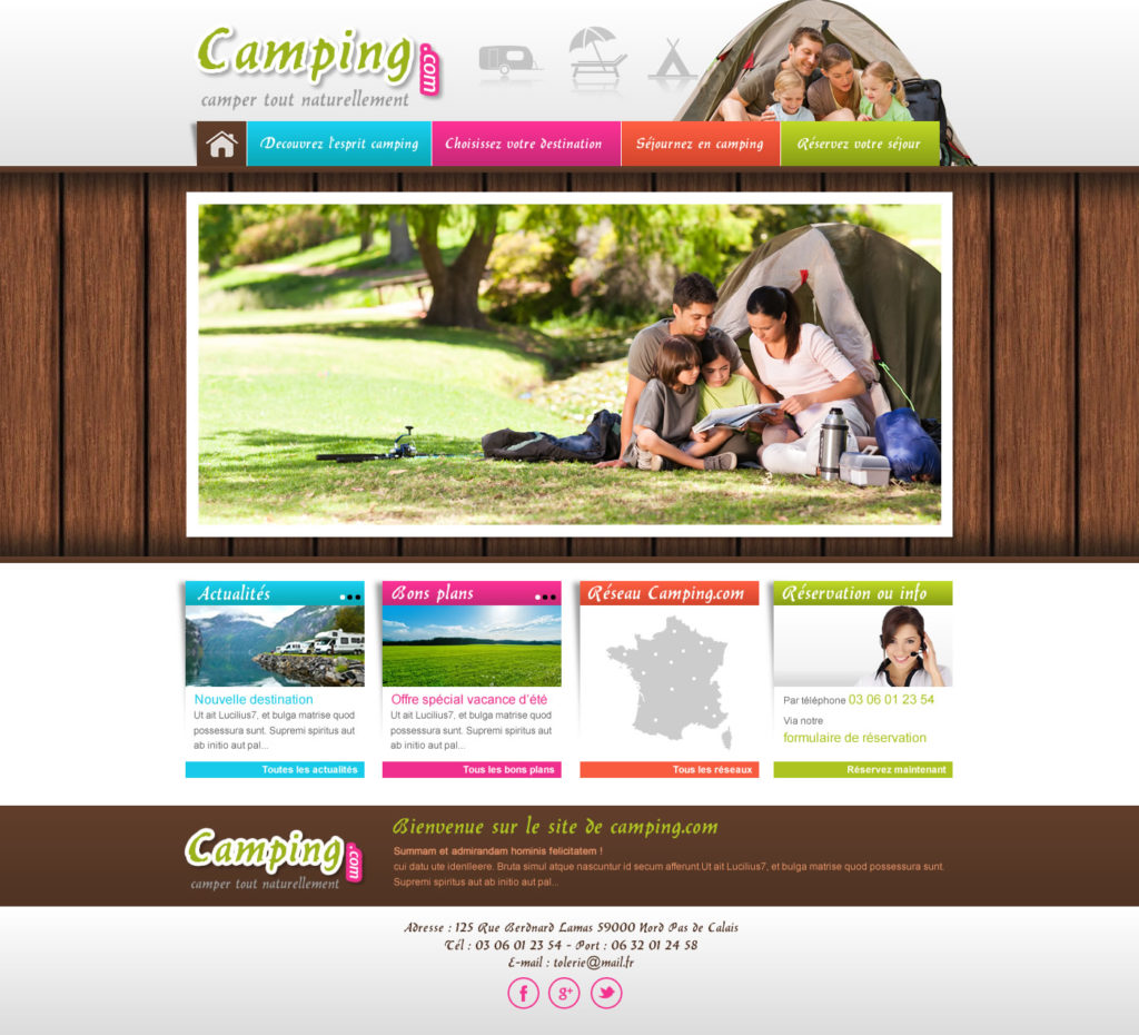 cr ation de site web camping caravaning i p w marseille. Black Bedroom Furniture Sets. Home Design Ideas