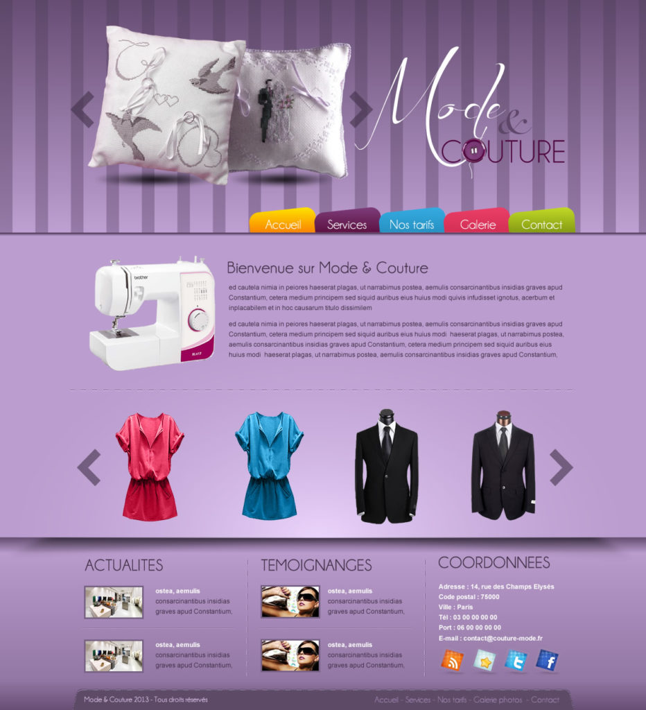 Création de Site Web Couture et Couturière graphisme et site Agence Web I-P-W Marseille Aix en télétravail partout en France