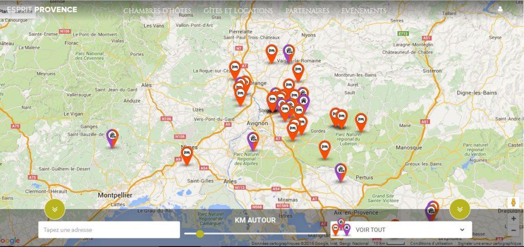 Site Portail location de gîtes et chambres d'hôtes EspritProvence Réalisation I-P-W agence web Marseille Aix en télétravail partout en France