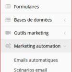 Menu gauche de réglage des fonctionnalités Campagnes Mail et SMS Partie 2