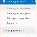 Menu gauche de réglage des fonctionnalités Campagnes Mail et SMS Partie 1
